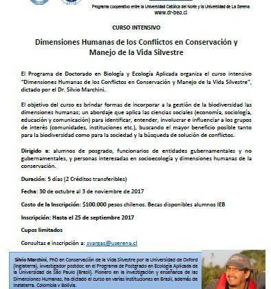 Hasta el 27 de septiembre se aceptan inscripciones: Realizarán curso de postgrado sobre conflictos en conservación y manejo de vida silvestre