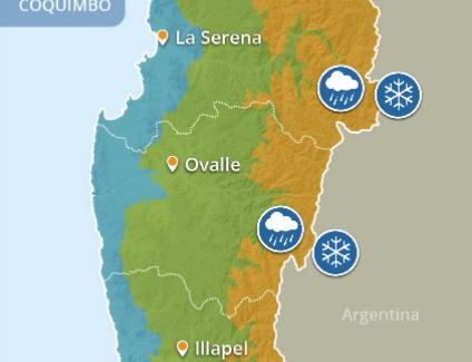 Informan de probables chubascos débiles y vientos de diversa intensidad en cordillera y costa de la Región de Coquimbo