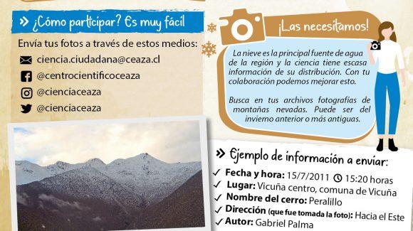 Invitan a colaborar en investigación con fotos de la cordillera nevada de la Región de Coquimbo