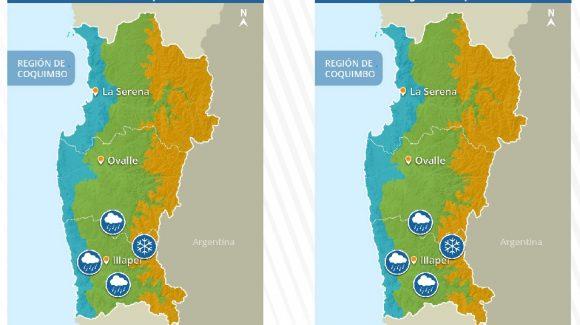 Se esperan precipitaciones de agua y nieve en la región de Coquimbo durante el sábado 11 y domingo 12 de septiembre.